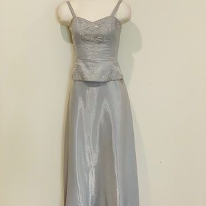 Jessica McClintock Silver Embroidered Gown, Size 4